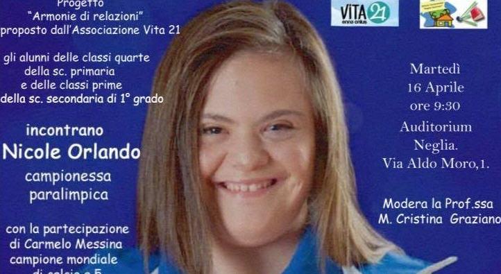 """La campionessa paralimpica Nicole Orlando incontra gli alunni della """" Neglia"""" e di """"Santa Chiara"""""""