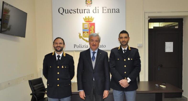 Enna, in Questura i nuovi Commissari della Polizia di Stato dott. Carmelo Passaro e dott. Dario Infurna.