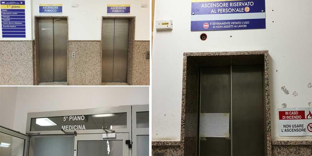 Ospedale Chiello : ascensori guasti da più di un mese. Manutentori diffidati ma non intervengono
