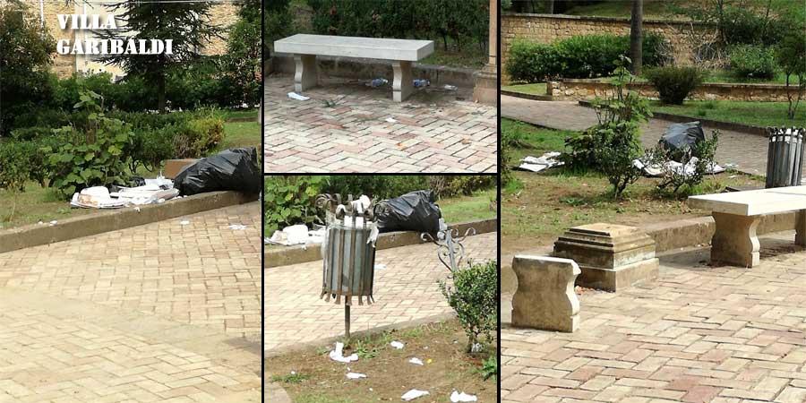 Piazza Armerina – I cittadini segnalano rifiuti alla villa Garibaldi