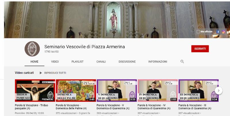 Il canale Youtube del Seminario di Piazza Armerina oltre i mille iscritti