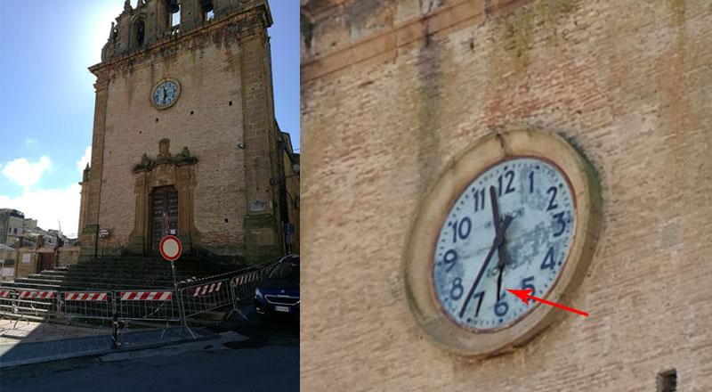Piazza Armerina, maltempo: danneggiato l'orologio della chiesa di Santo Stefano.