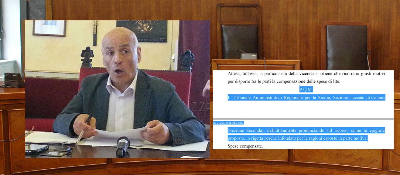 Il Tar di Catania respinge il ricorso dell'ex sindaco Filippo Miroddi