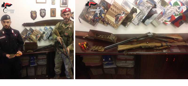 Carabinieri : armi sequestrate a Nicosia