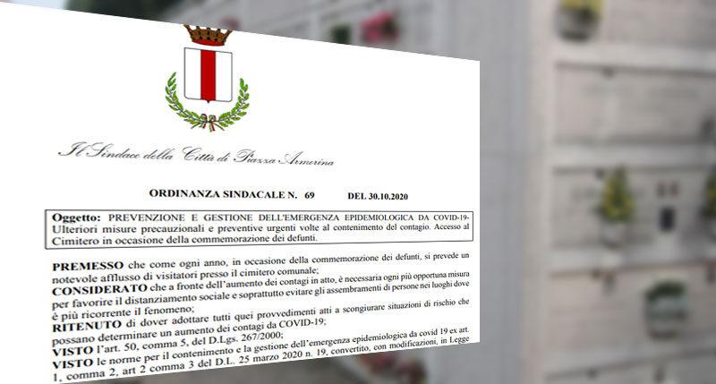 Commemorazione dei defunti a Piazza Armerina: ordinanza anticovid inutile