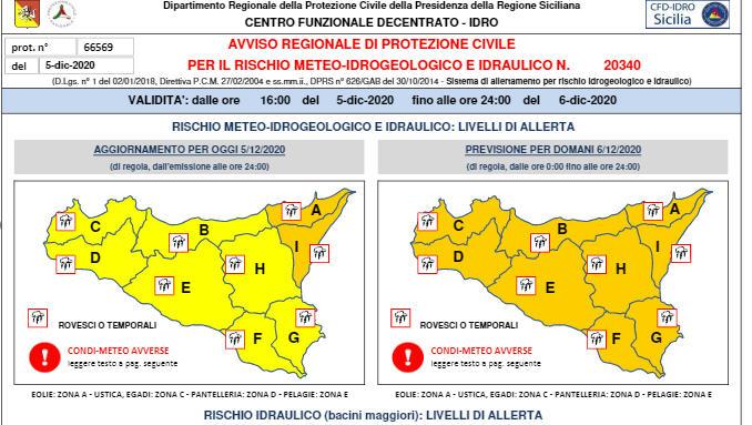 Meteo : allerta arancione per tutta la Sicilia. Possibili precipitazioni di forte intensità a Piazza Armerina